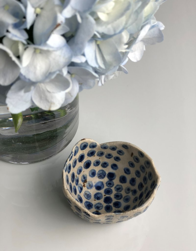 Ceramic Danish Vessel White-Navy Dots