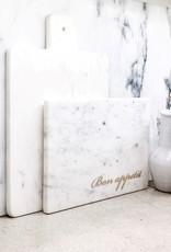 """Bon Appetit"" White Marble Serving Board"