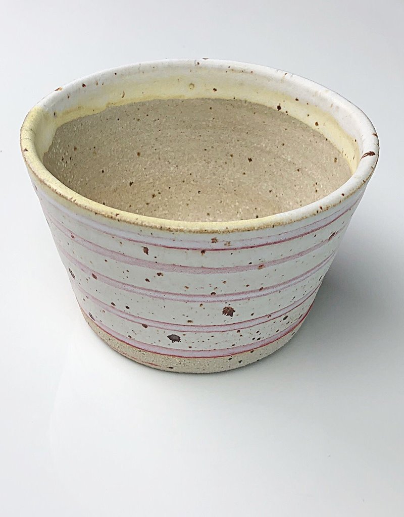 Handmade Ceramic Danish Polli Pot Planter Red Stripe Out