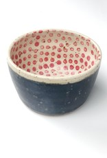 Handmade Ceramic Danish Polli Pot Planter Black Stripe Out/Red Dot In