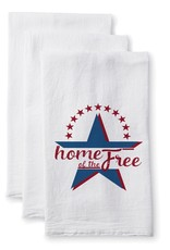 White Cotton Home of the Free Towel