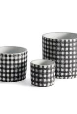 Black + White Gingham Pots  - Set of 3