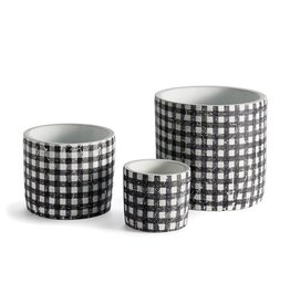 Black + White Gingham Pots - Set of 3
