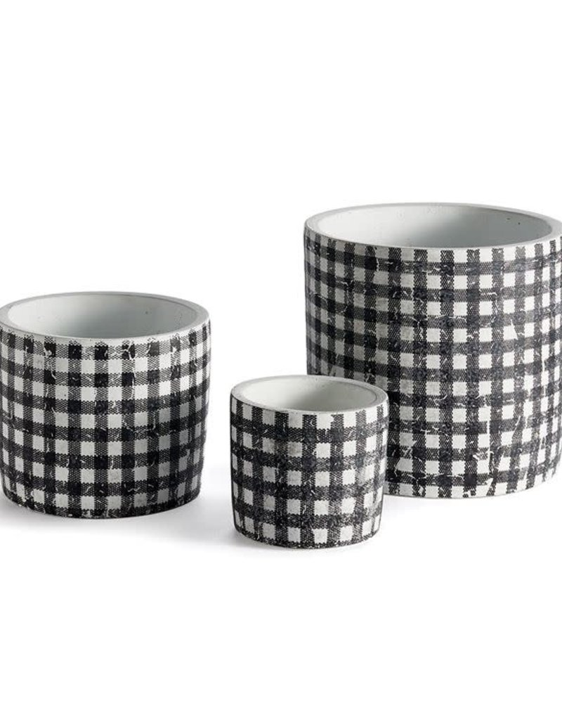 Black + White Gingham Plant Pots  - Set of 3