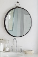 Large Black Round Bardot Mirror