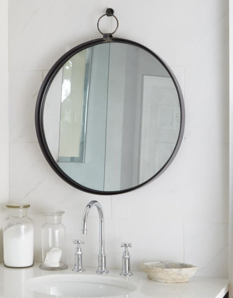 Black Round Bardot Mirror Large