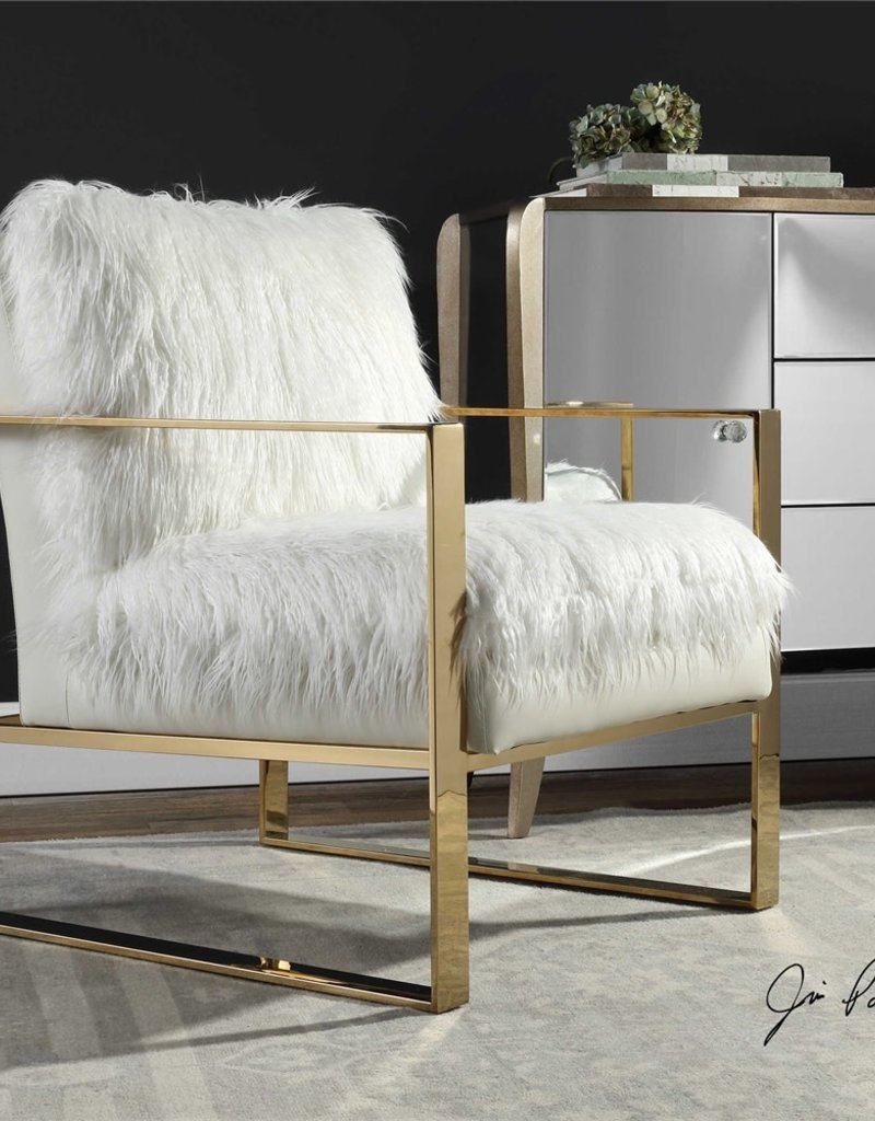 Gold and White Delphine Faux Shearling Chair
