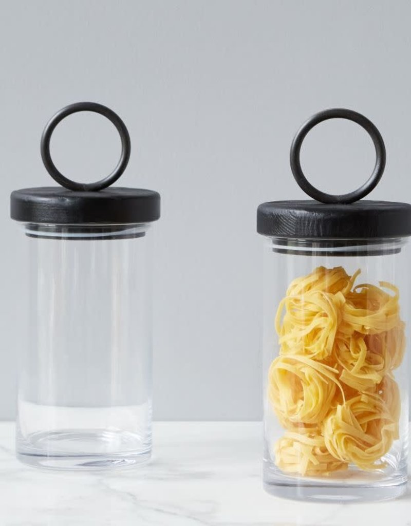 Small Black Iron Top Glass Canister