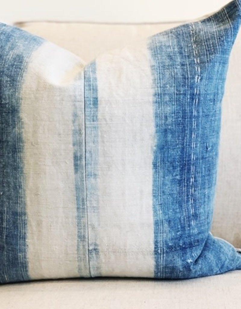 Light Blue Striped Canvas Throw Pillow