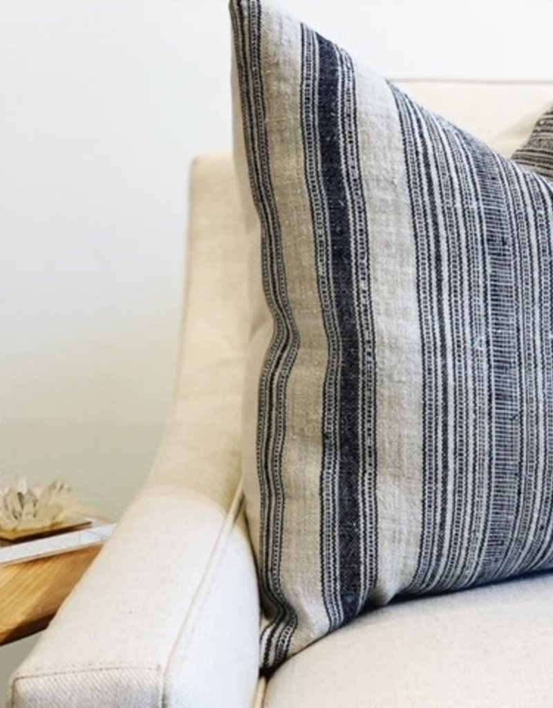 Tung Navy Striped Throw Pillow