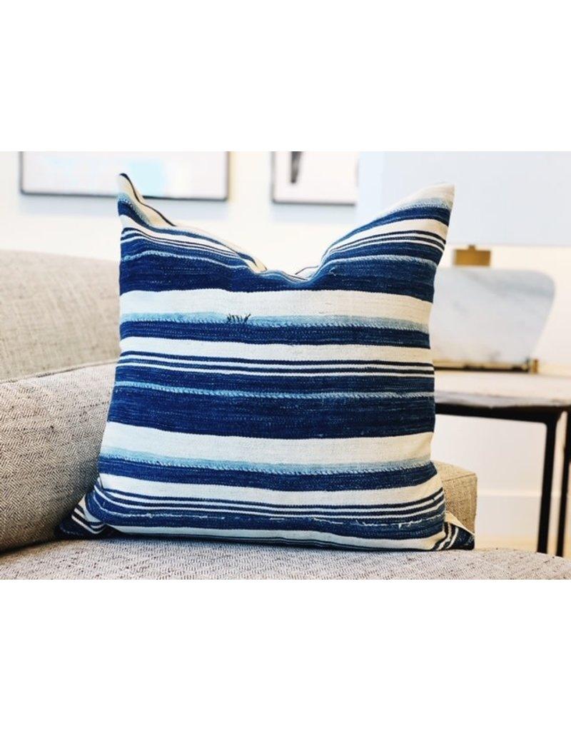 Blue Striped Speke Mud Cloth Throw Pillow