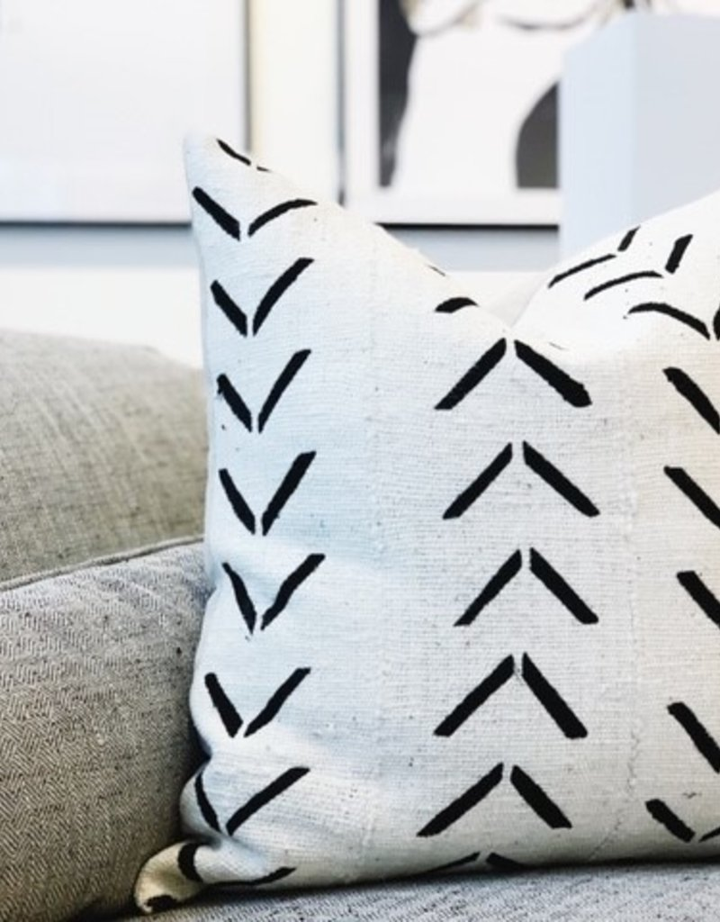 White with Black Pattern Throw Pillow