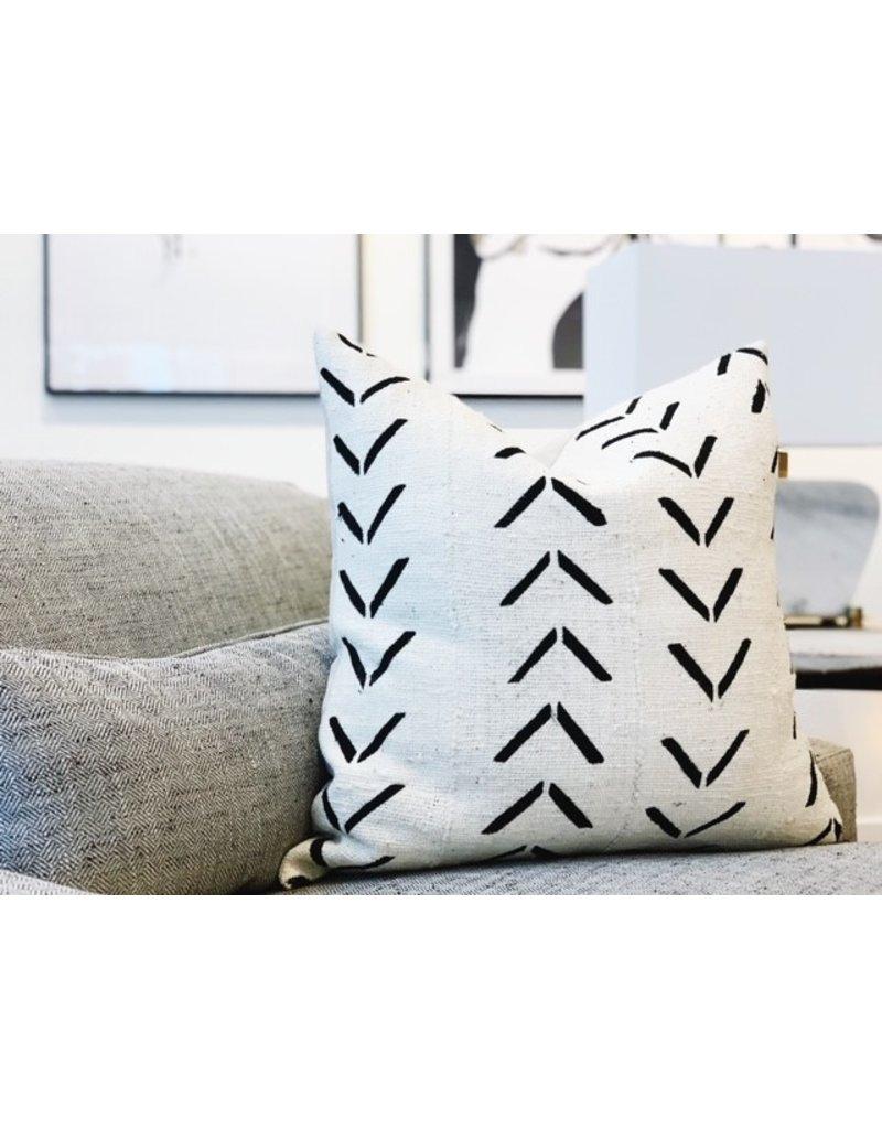White with Black Pattern Throw Pillow