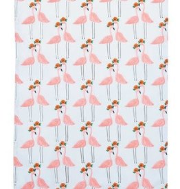 Pink Flamingo Cotton Tea Towel with Pom-Poms