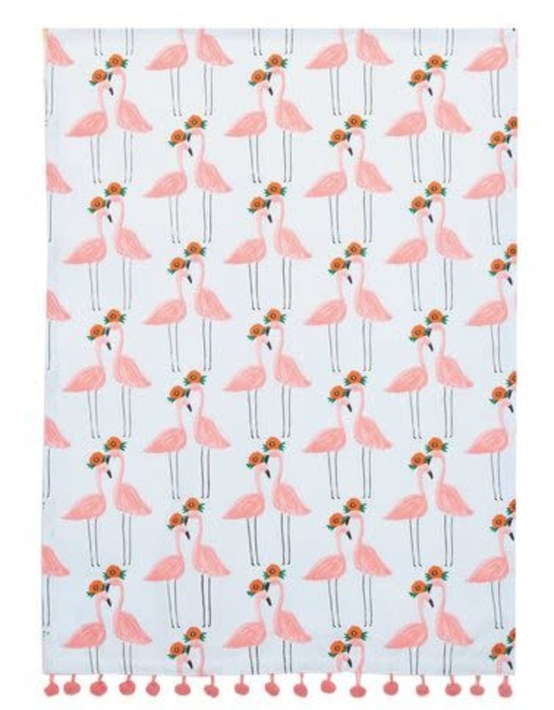 Pink Flamingo Tea Towel with Pom-Poms