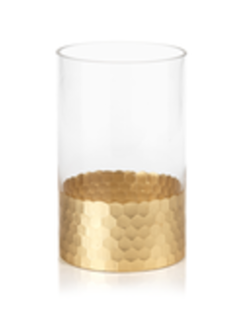 Fez Cut Glass Hurricane with Gold Leaf -  Large