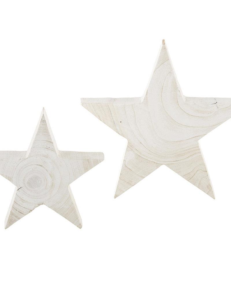 Paulownia White Wood Stars - Set of 2