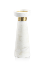 Large White Marble Brass Candle Holder