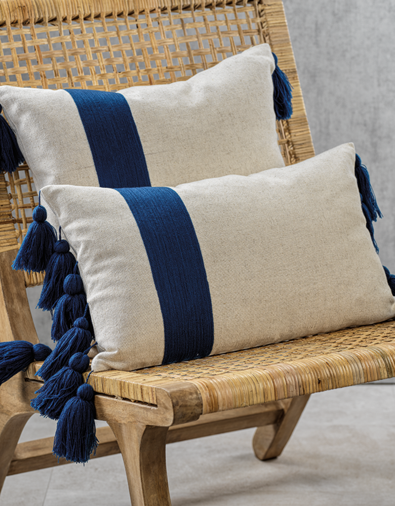 Polignano Embroidered Throw Pillow with Tassels - Navy 12x20""