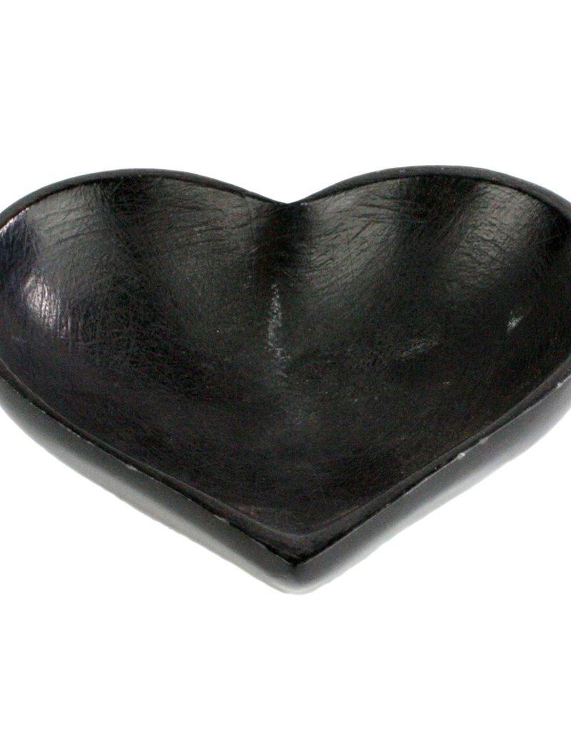 Small Soapstone Heart Bowl - Black