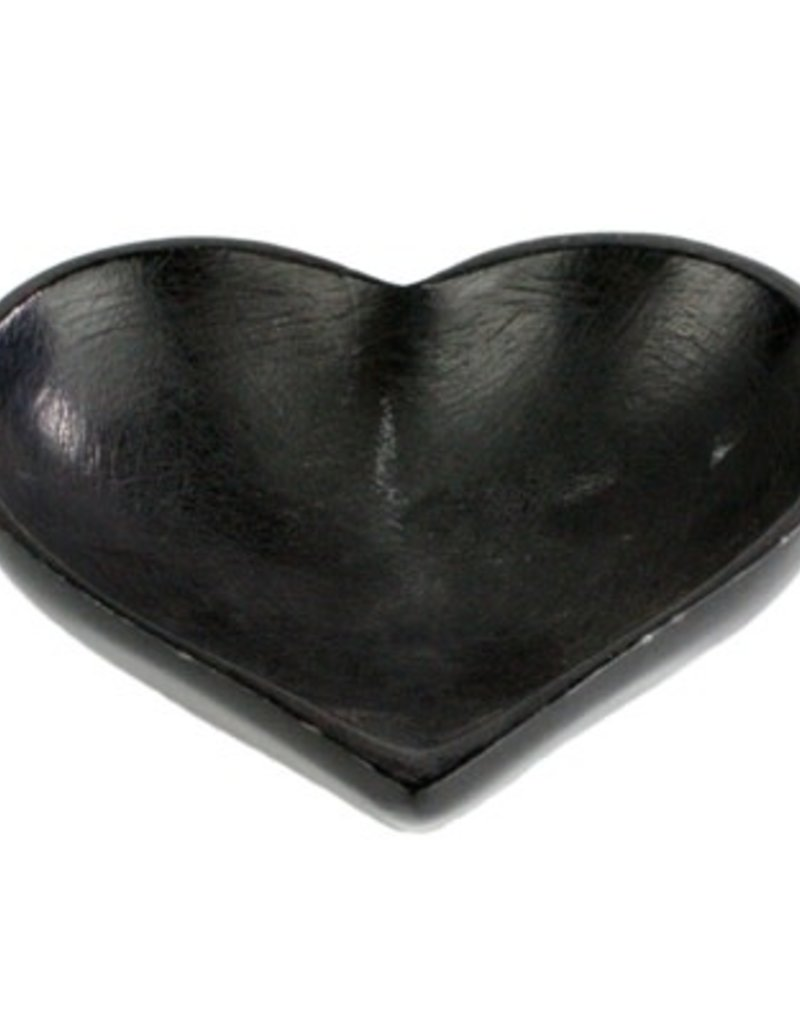 Large Soapstone Heart Bowl - Black