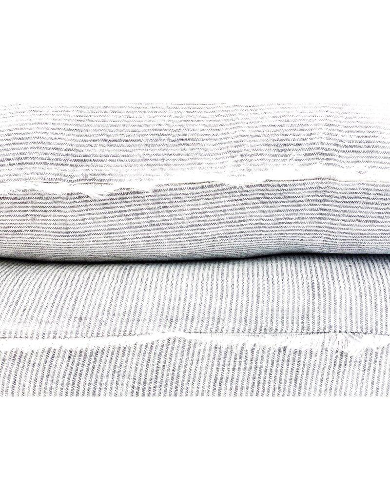 Gray Stripe Belgian Linen Throw Pillow