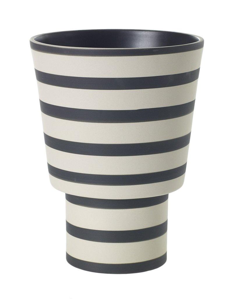 Black Striped Stoneware Vase