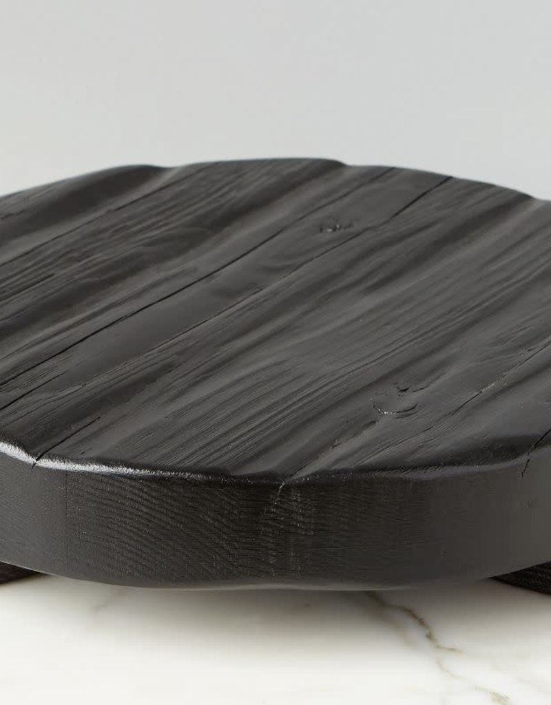 Small Black Round Wood Trivet