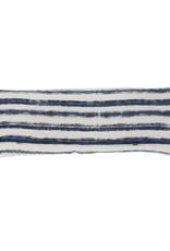 Navy Striped Hand Woven Lumbar Pillow
