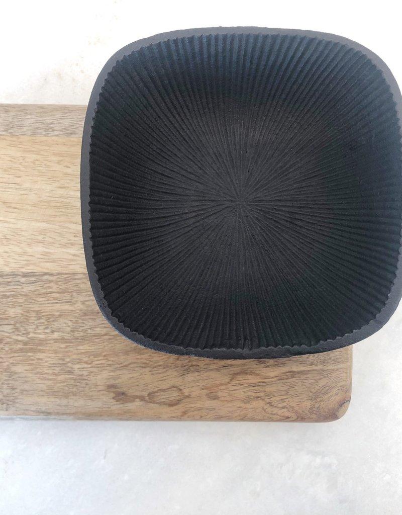 Square Black Ornate Cast Iron Bowl