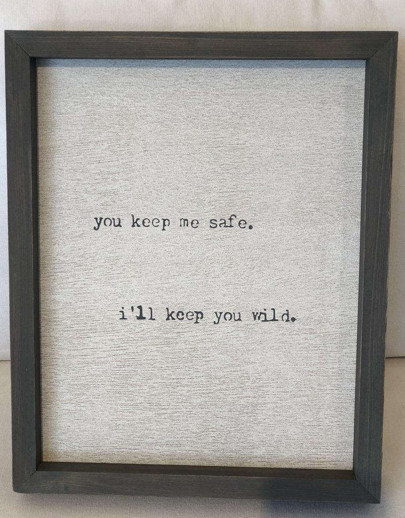 You Keep Me Safe - Gray Word Board