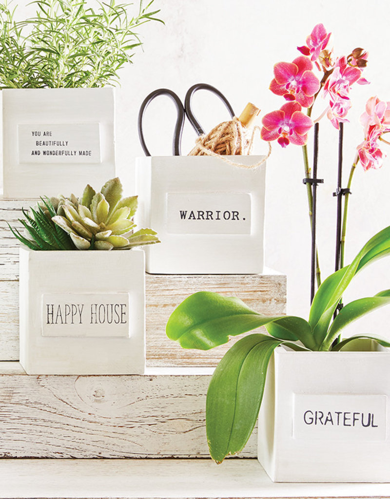 Small White Nesting Box-Grateful
