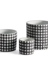 Black and White Gingham Plant Pots