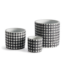 Black + White Gingham Plant Pots - Starting at