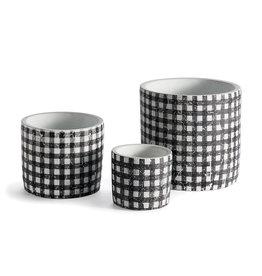 Black + White Gingham Plant Pots