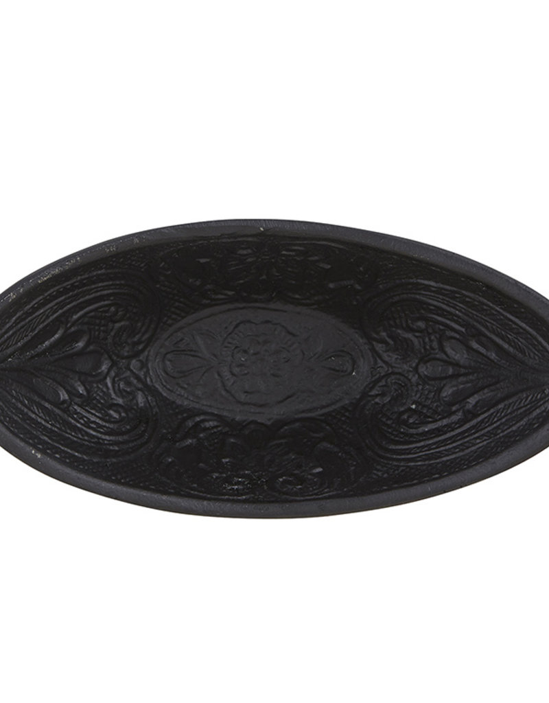 Small Black Oval Cast Iron Bowl