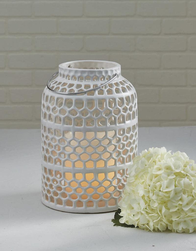 White Lattice Ceramic Lantern