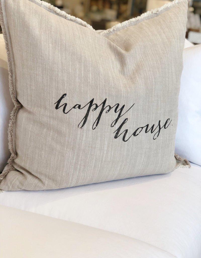 Dark Gray Happy House Throw Pillow