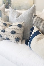 Navy Embroidered Throw Pillow with Tassels
