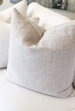 Gray Stripe Belgian Linen Throw Pillow