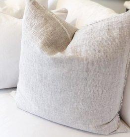 Belgian  Linen Pillow - Gray Stripe