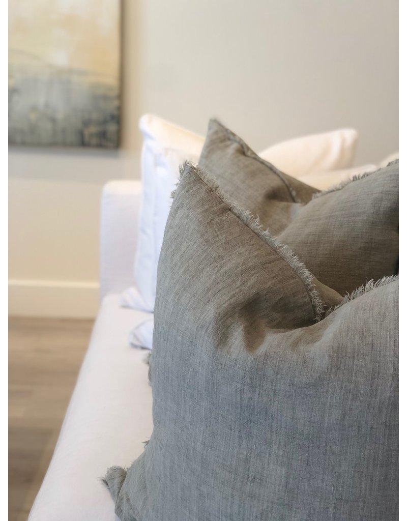 Flint Gray Belgian Linen Throw Pillow