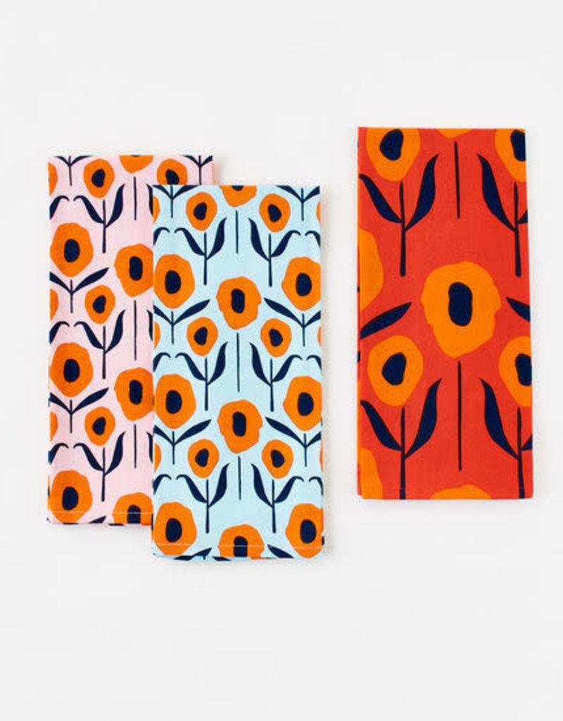 Poppy Flower Dish Towels