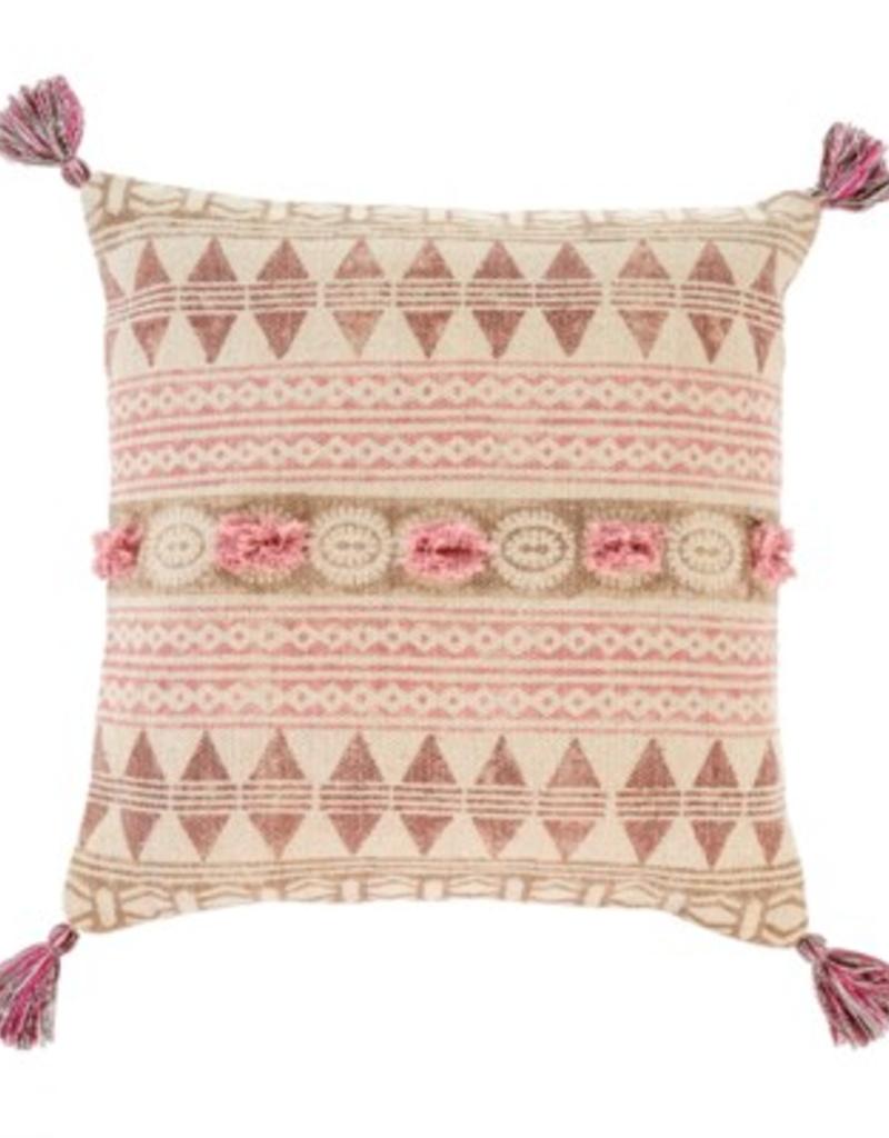 """20"""" Pink Rosa Block Print Throw Pillow"""
