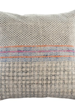Gray Patterned Woven Throw Pillow