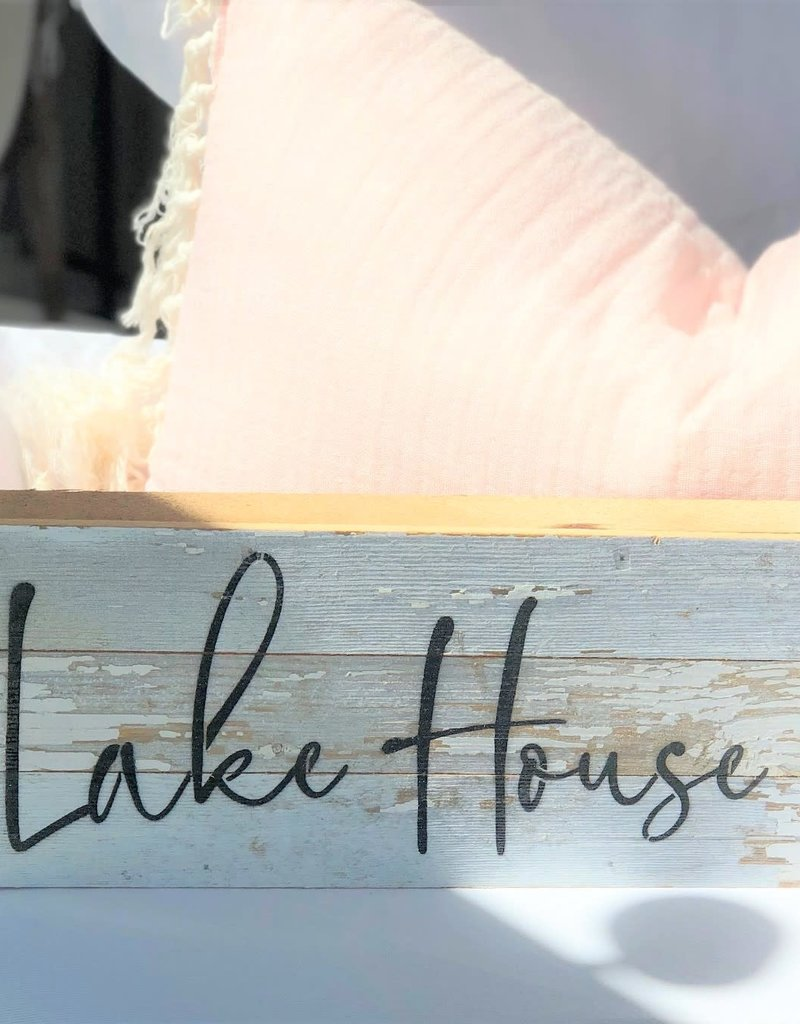 Lake House White Reclaimed Wood Sign