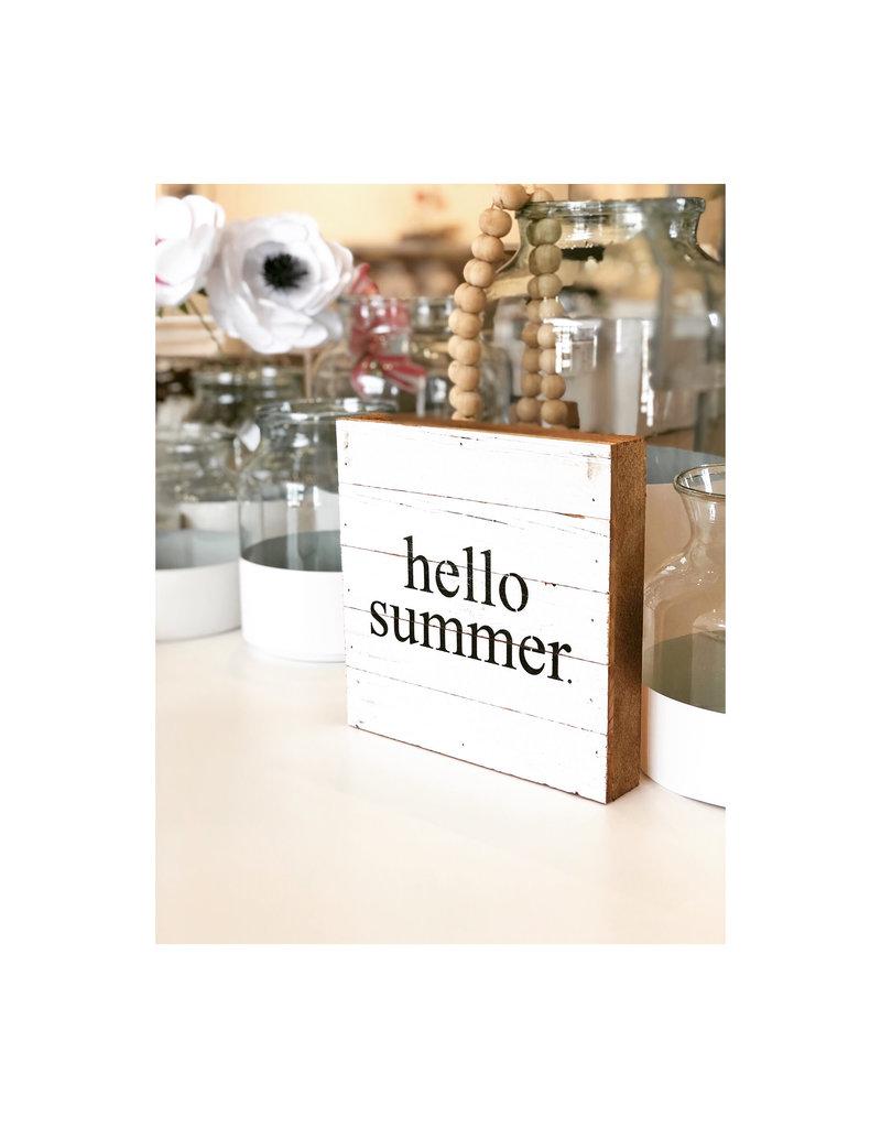 Hello Summer White Reclaimed Sign