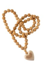 Large Natural Wood Heart Prayer Beads
