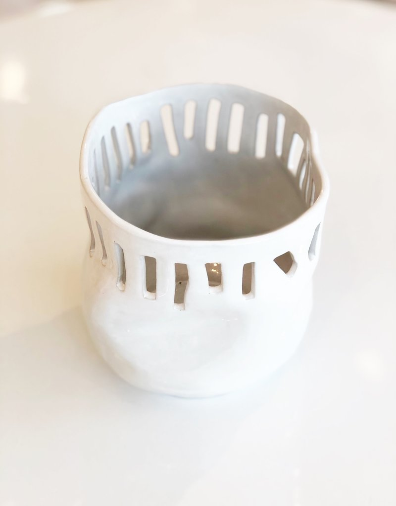 White Ceramic Tall Bowl 982