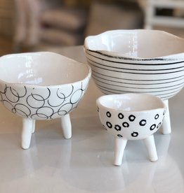Black + White Footed Planters